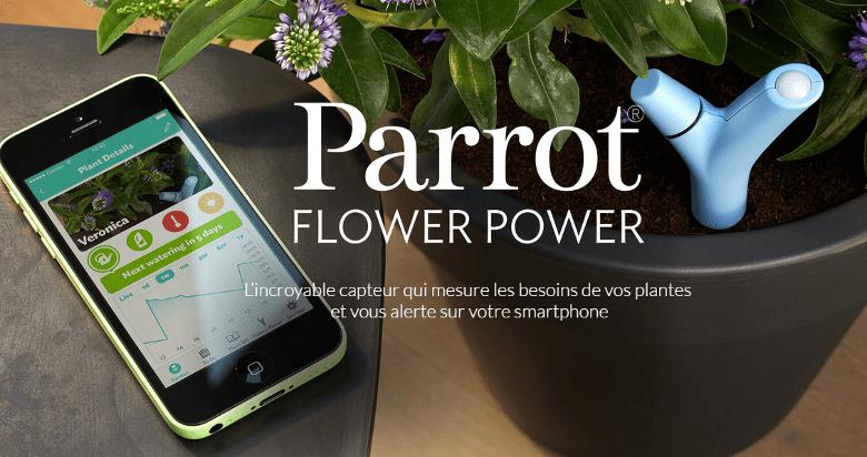 Parrot flower power vert connect achat vente thermom tre barom tre parrot flower power - Thermometre piscine connecte ...