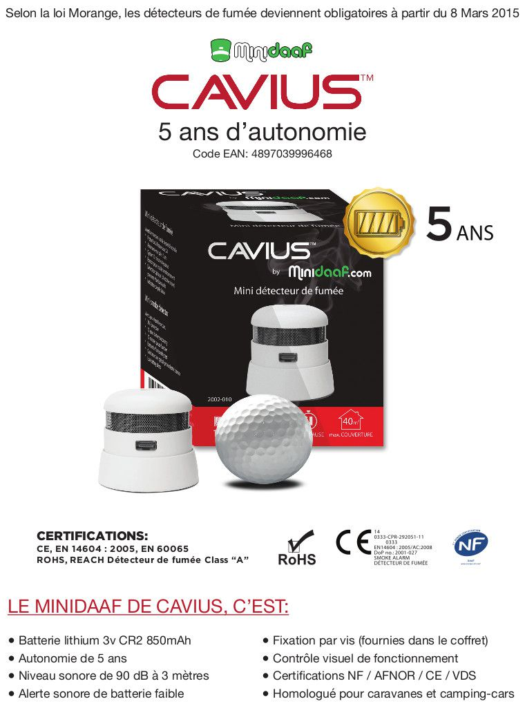cavius d tecteur autonome de fum e mini daaf 5 ans nf ce. Black Bedroom Furniture Sets. Home Design Ideas