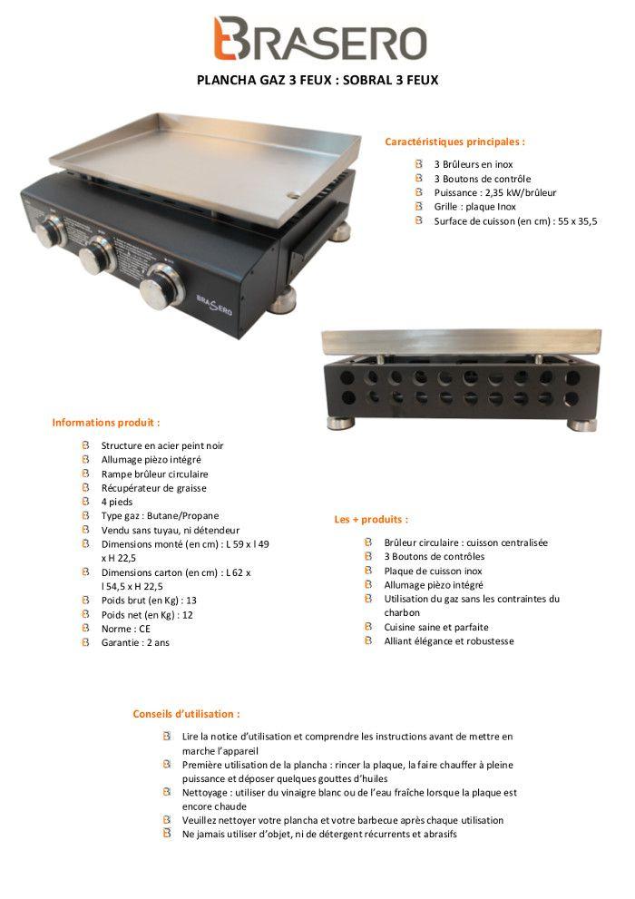 brasero plancha sobral 3 feux plaque inox 55 x 35 5 cm achat vente plancha plancha 3 feux. Black Bedroom Furniture Sets. Home Design Ideas