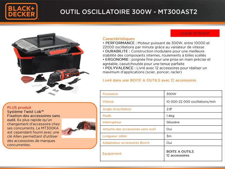 Black decker outil oscillatoire multifonction mt300ast2 300w 12 acces - Outil multifonction black et decker 300w ...