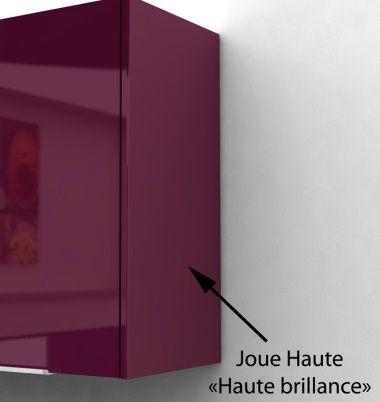 caisson porte haut 30 cm aubergine haute brillance - achat / vente ... - Meuble Cuisine 30 Cm