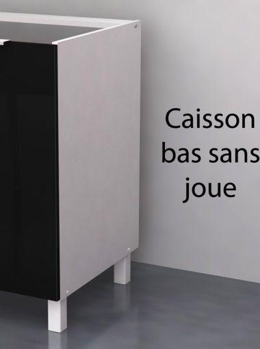 Pop meuble sous vier 80 cm noir haute brillance achat for Caisson meuble cuisine sans porte
