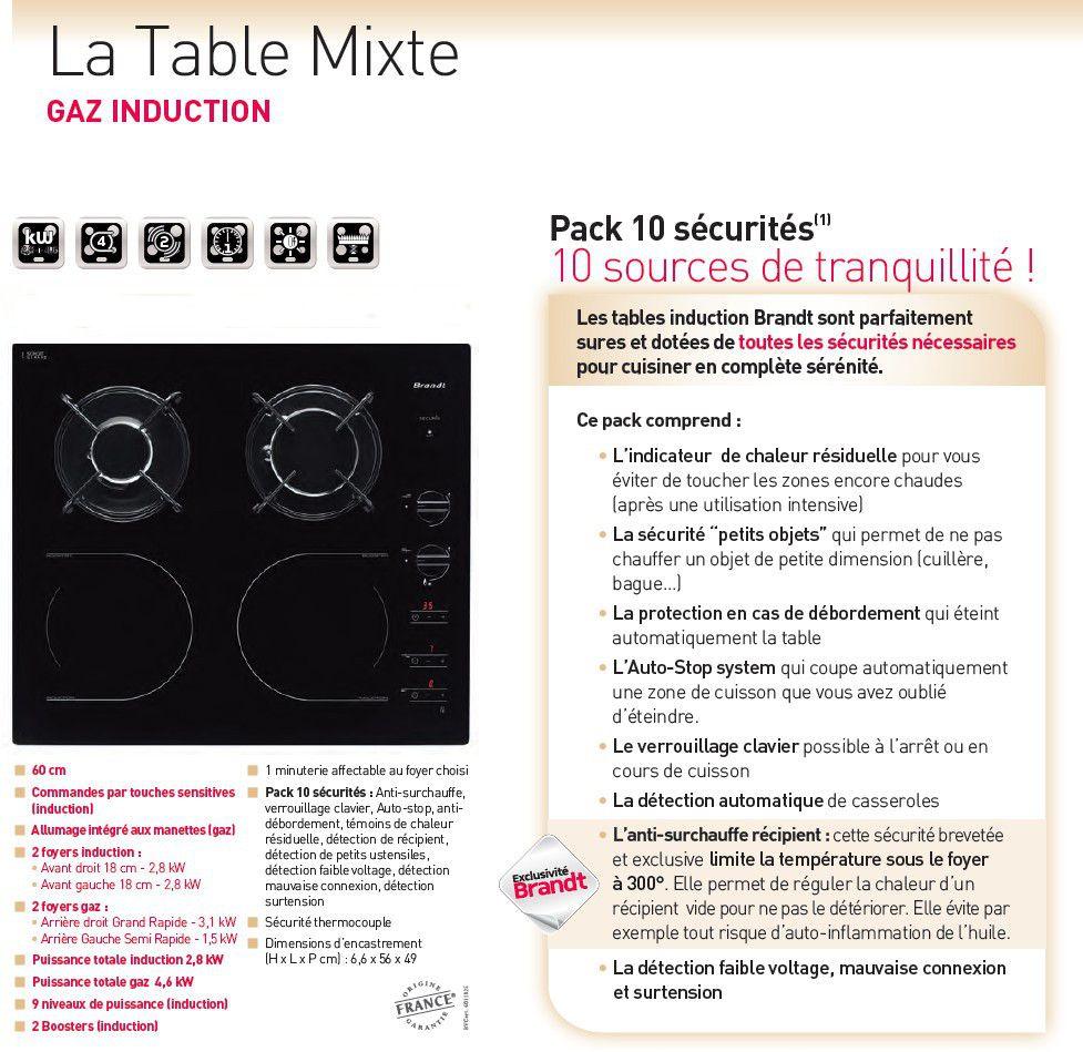 BRANDT TI1013B  Table de cuisson  Achat  Vente plaque mixte