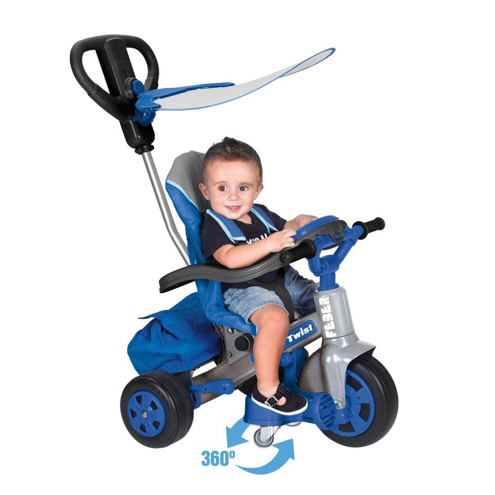 feber tricycle evolutif baby twist 360 bleu 10 pouces. Black Bedroom Furniture Sets. Home Design Ideas