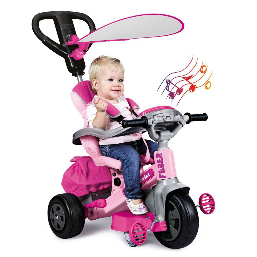 feber tricycle evolutif baby twist 360 rose 10 pouces. Black Bedroom Furniture Sets. Home Design Ideas
