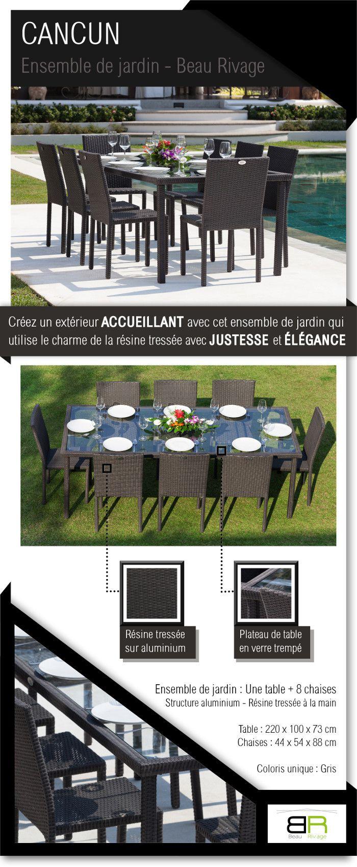 CANCUN Ensemble de jardin 8 places résine tressée et aluminium ...