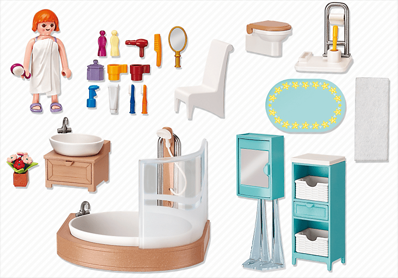 playmobil 5330 salle de bain avec baignoire et pare douche achat vente univers miniature. Black Bedroom Furniture Sets. Home Design Ideas