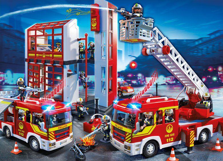 Playmobil 5361 city action caserne de pompiers avec alarme achat vente univers miniature - Caserne de police playmobil ...