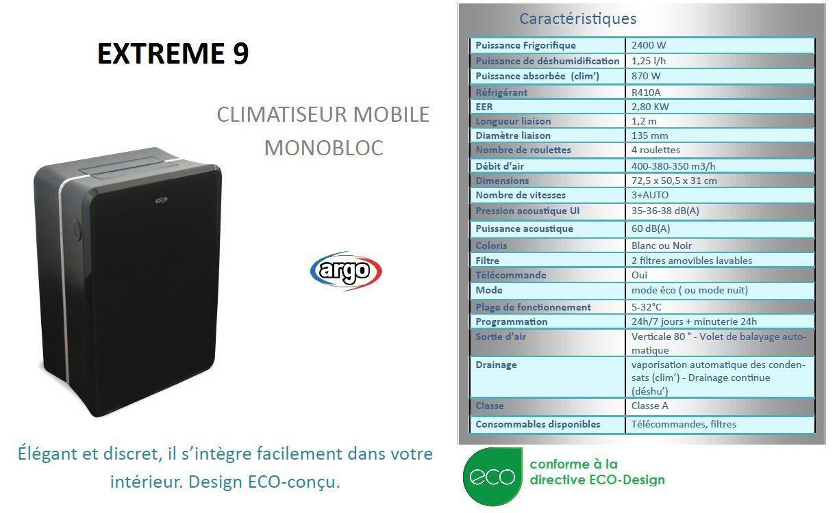 argo extreme 9 climatiseur mobile achat vente climatiseur argo extreme 9 climatiseur cdiscount. Black Bedroom Furniture Sets. Home Design Ideas