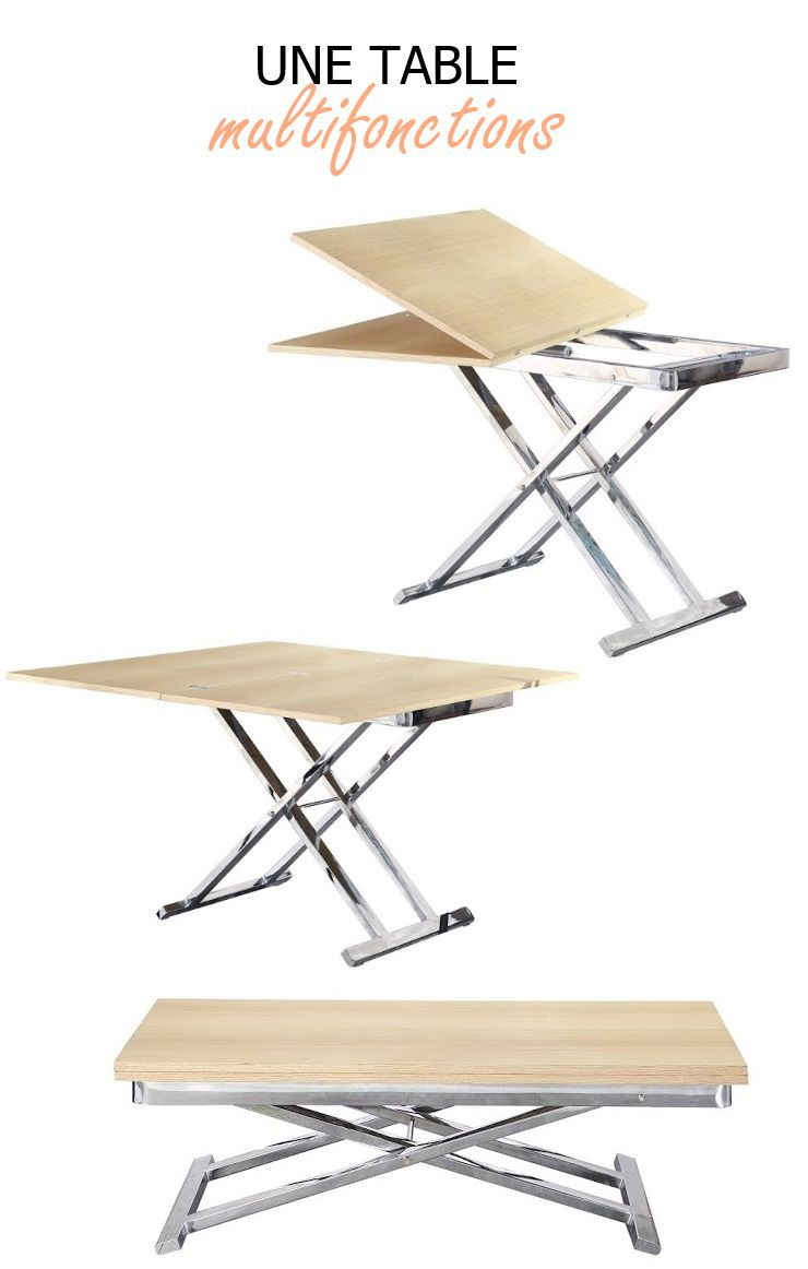 Upper table relevable et extensible laquee blanche - Table extensible et relevable ...