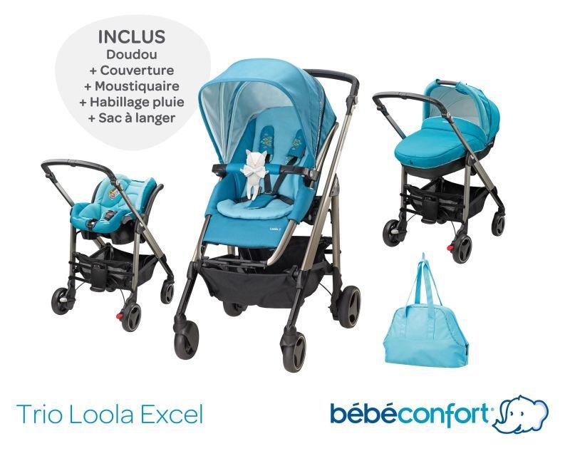 bebe confort poussette combin e trio loola excel mosaic bleu turquoise achat vente poussette. Black Bedroom Furniture Sets. Home Design Ideas