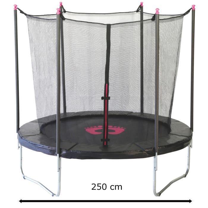kangui trampoline 250cm noir et rose avec filet achat vente trampoline soldes d t cdiscount. Black Bedroom Furniture Sets. Home Design Ideas