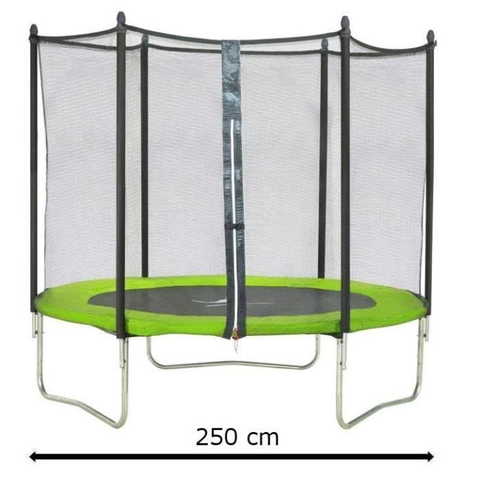 kangui trampoline 250cm vert avec filet 3760165460145. Black Bedroom Furniture Sets. Home Design Ideas