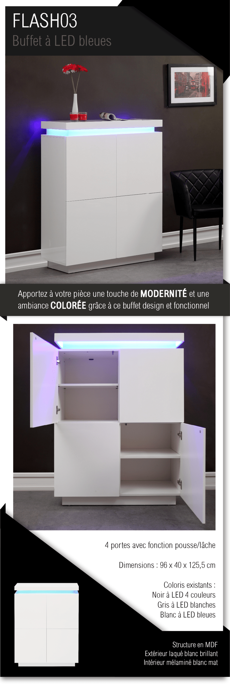 Flash Buffet Haut Contemporain Avec Led Laqu Blanc Brillant L  # Armoire Bar Blanc Laque Led