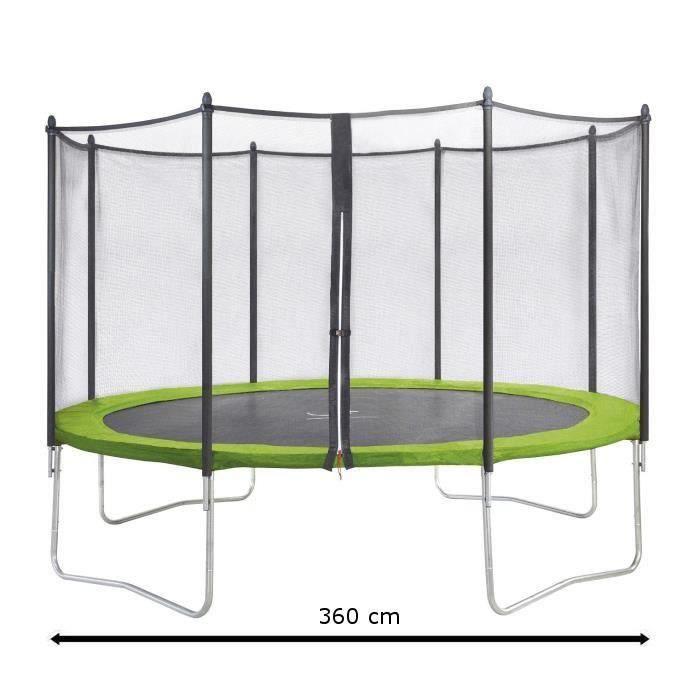 kangui trampoline twin 360cm vert avec filet achat. Black Bedroom Furniture Sets. Home Design Ideas