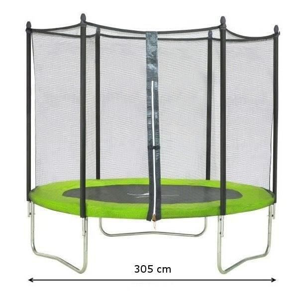 kangui trampoline 305cm vert avec filet achat vente. Black Bedroom Furniture Sets. Home Design Ideas