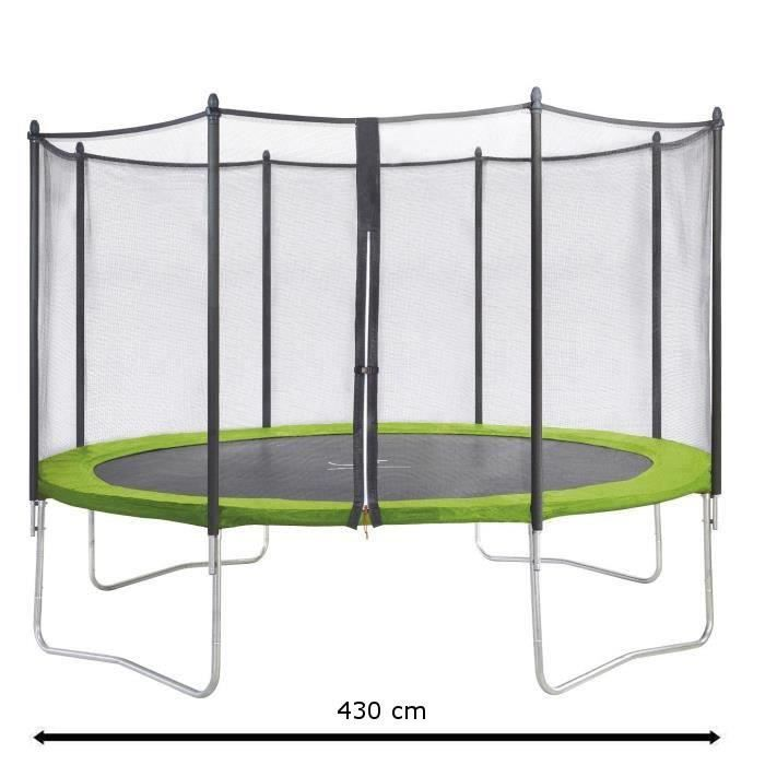 kangui trampoline twin 430 cm vert avec filet achat. Black Bedroom Furniture Sets. Home Design Ideas