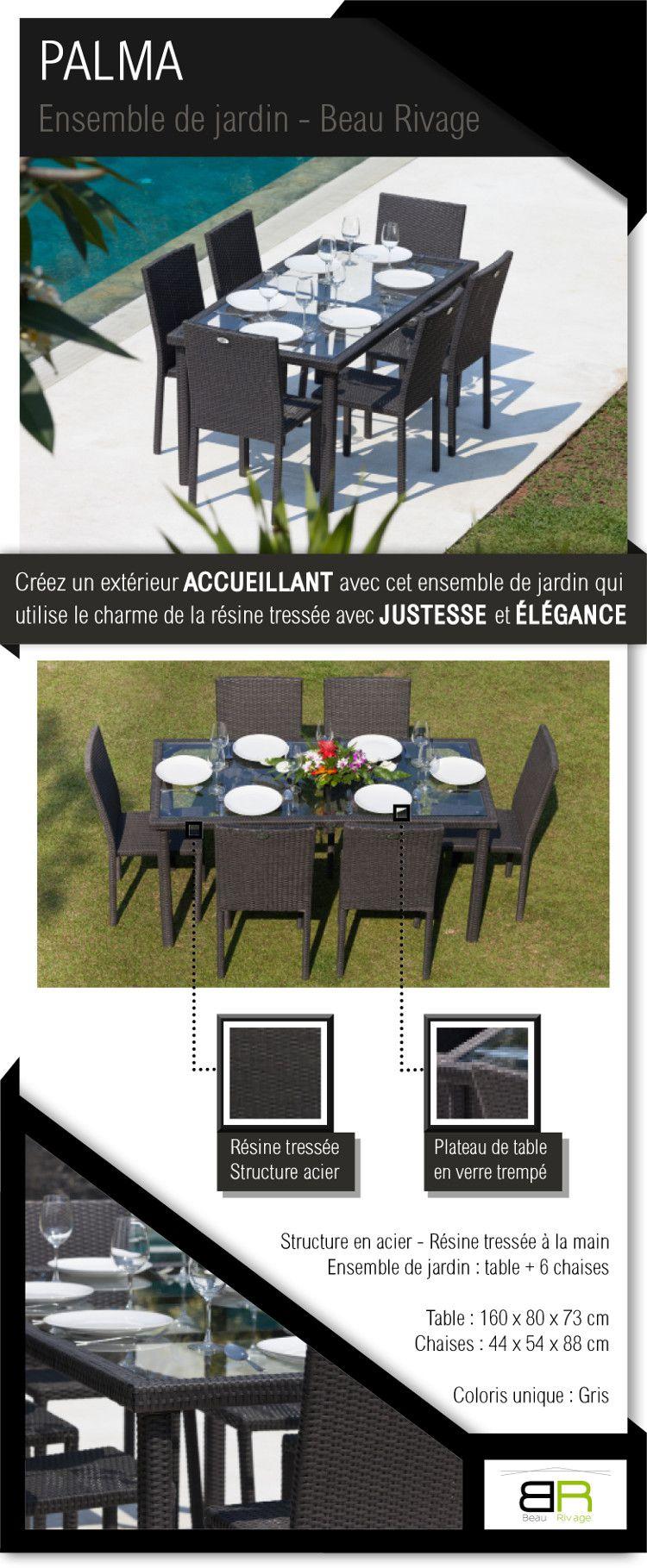 ARCACHON Ensemble table de jardin 6 places acier et résine tressée ...