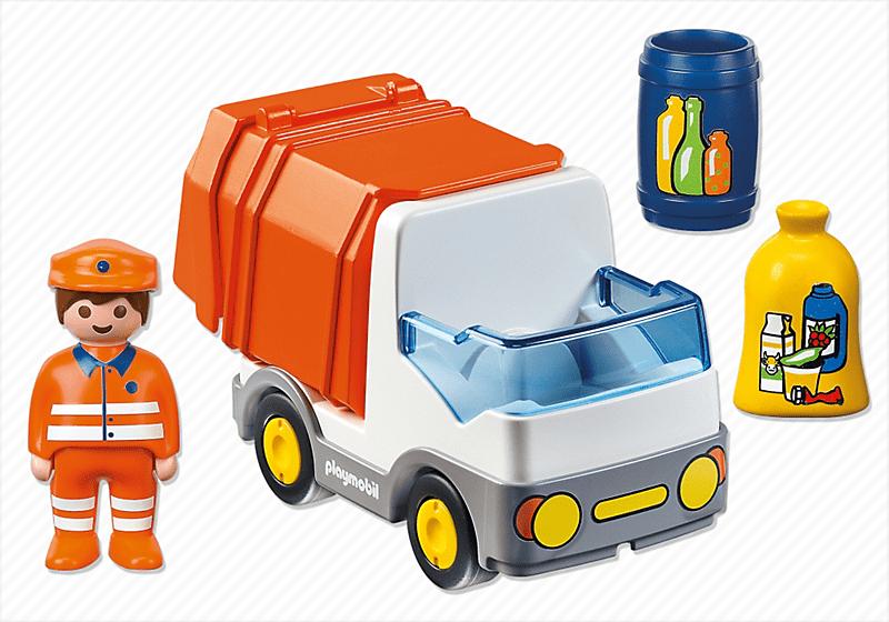 Playmobil 1 2 3 6774 camion poubelle achat vente univers miniature cdiscount - Playmobil camion ...