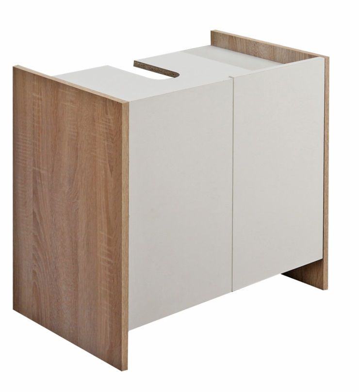 Pure meuble sous lavabo 60 cm d cor ch ne naturel et blanc achat vente - Meuble sous lavabo 60 cm ...