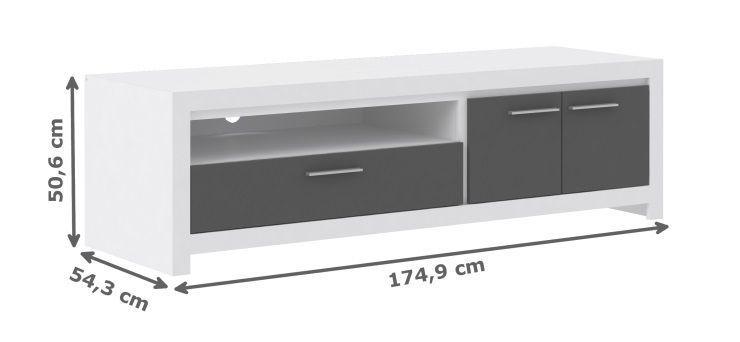 Cross meuble tv contemporain en bois blanc et gris l 175 for Meuble blanc et gris