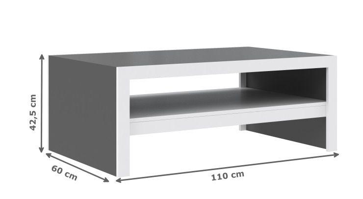 cross table basse 110x42 cm blanc et gris achat vente table basse cross table basse 110x42. Black Bedroom Furniture Sets. Home Design Ideas