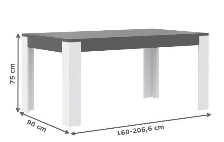 Cross table manger extensible 4 8 personnes 160 207x90 for Table extensible 2 a 8 personnes
