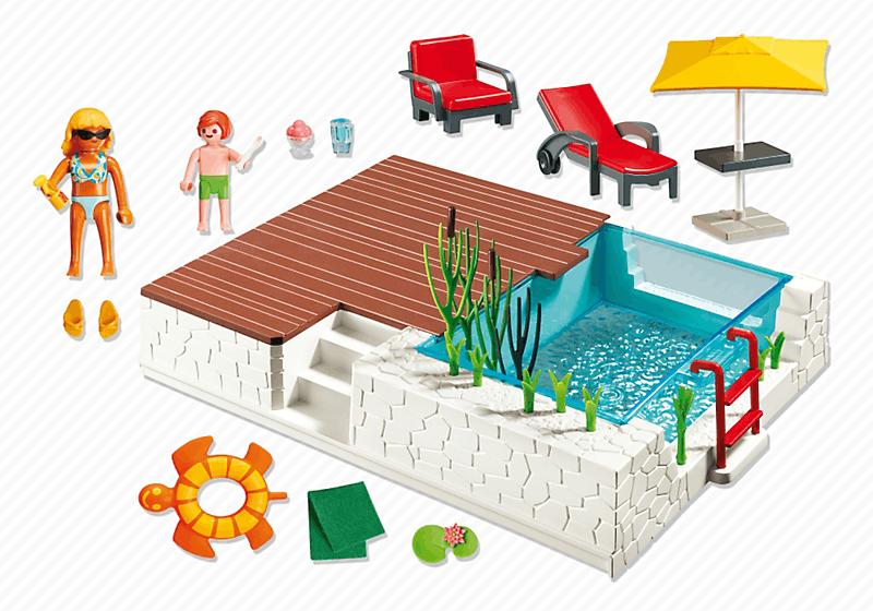 Playmobil 5575 piscine avec terrasse achat vente for Agrandissement maison moderne playmobil