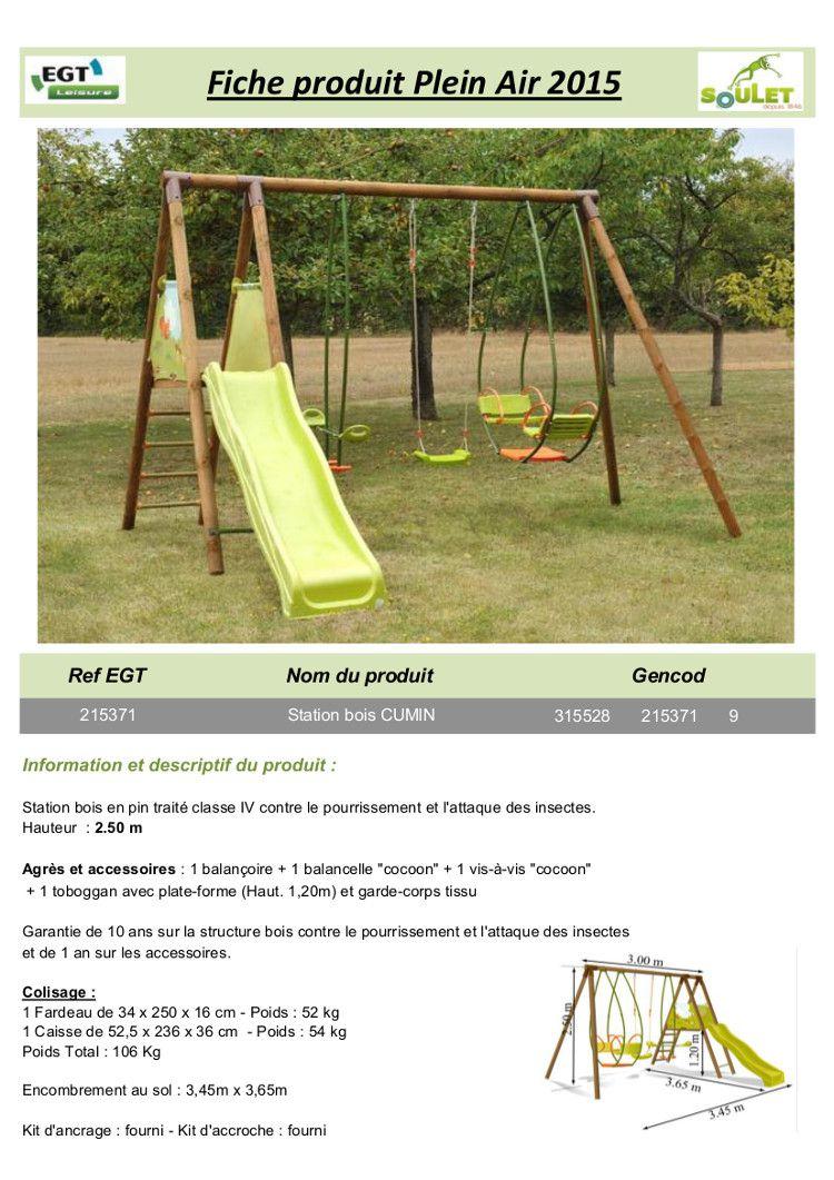 Station de jeux en pin pour enfants  4 agrès  Cumin  Jeux de plein