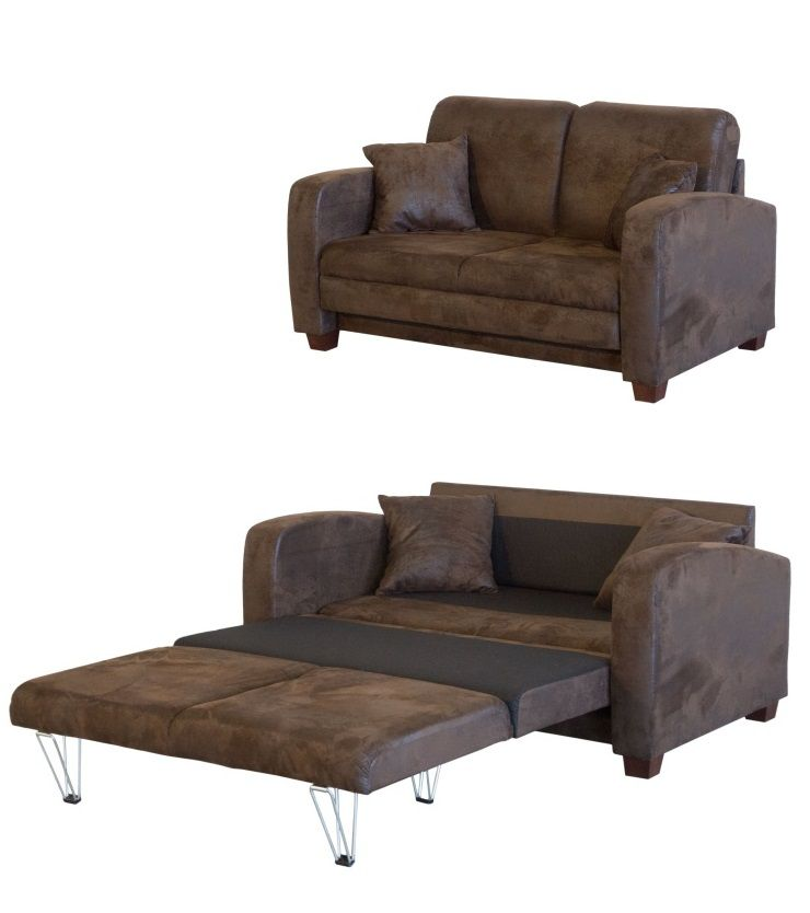 Finlandek canap convertible 2 places miska tissu marron for Canape deux places convertibles