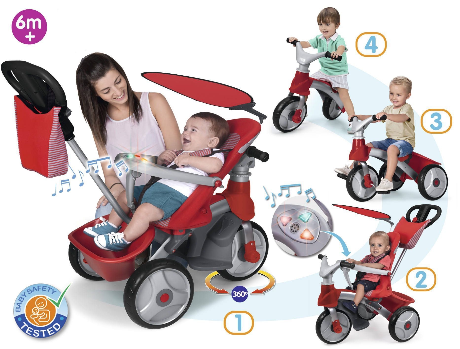 feber tricycle baby trike easy evolution rouge achat. Black Bedroom Furniture Sets. Home Design Ideas