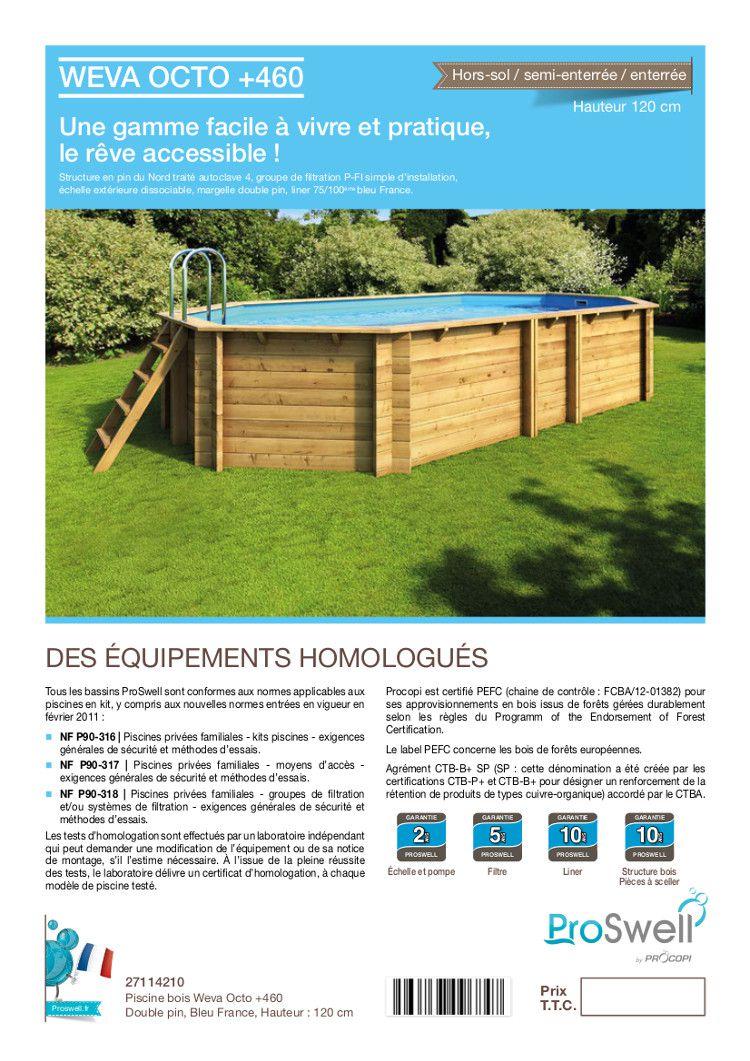 Weva piscine bois 4 60 m hauteur 1 20 m achat vente for Liner piscine 4 60 1 20