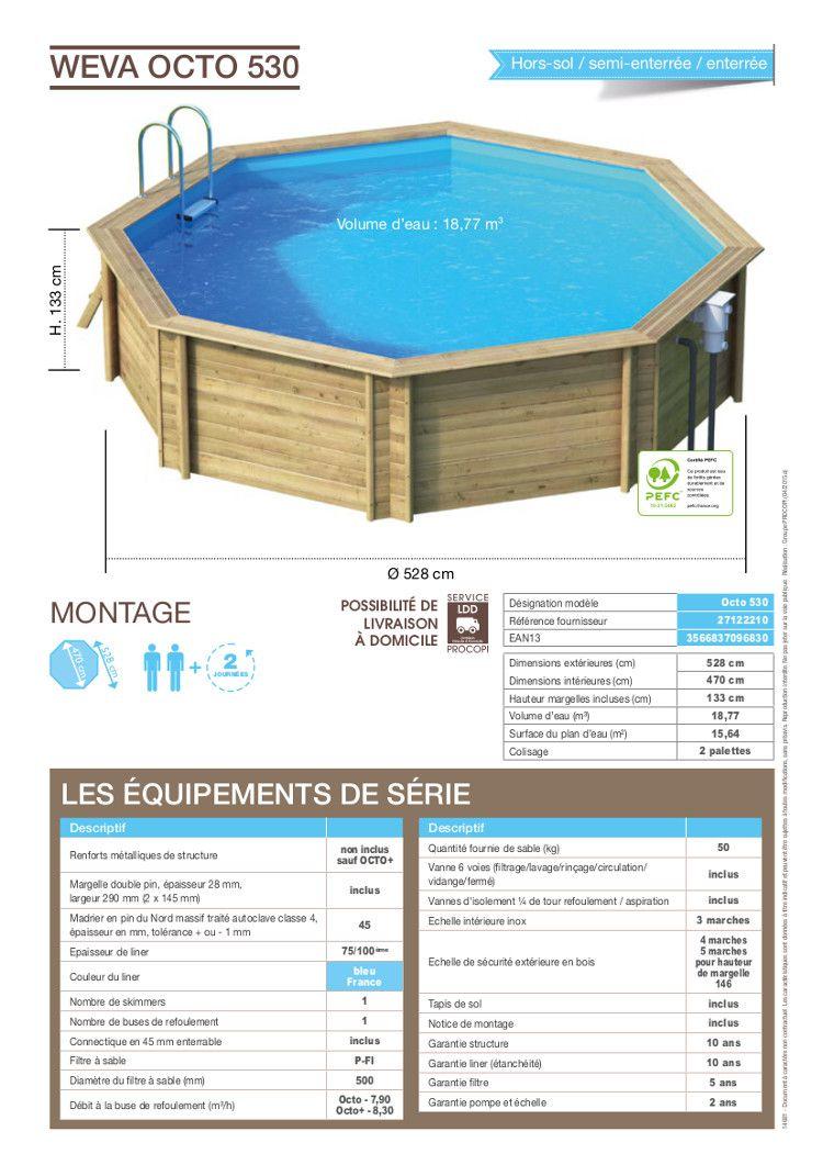 Weva piscine bois octogonale 5 30 x 1 33 m achat vente for Piscine bois 1m30