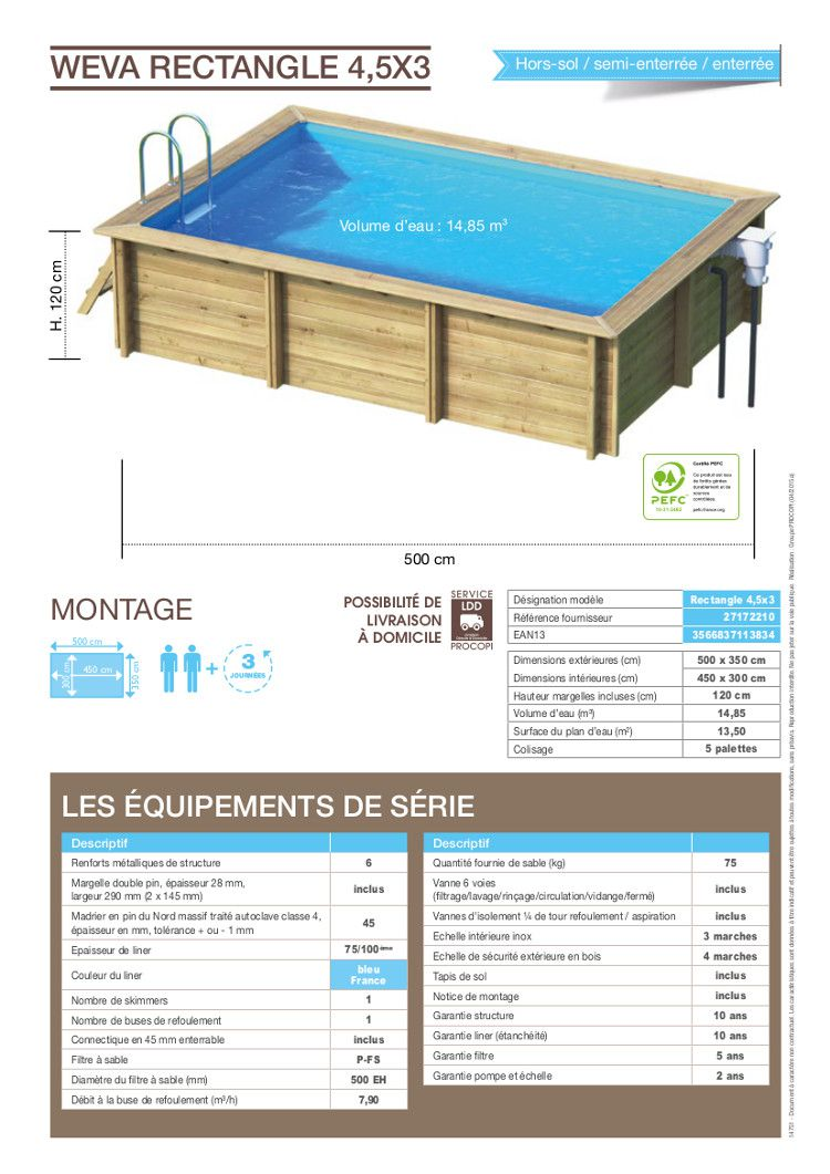 Weva piscine bois rectangle 4 5x3 m hauteur 1 20 m achat for Achat piscine bois