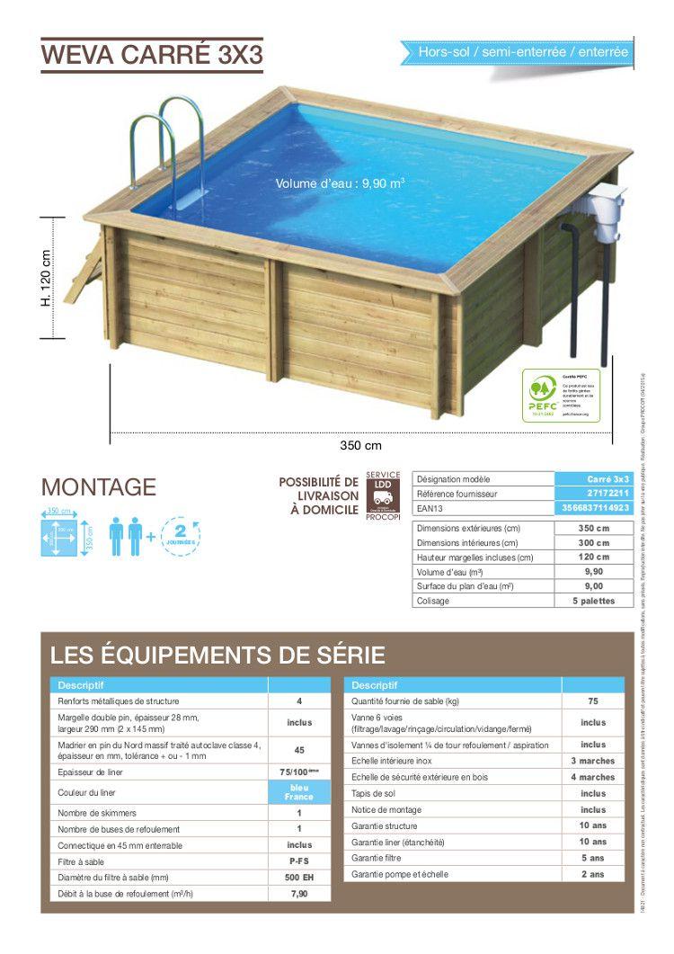Weva piscine bois carr e 3x3 m hauteur 1 20 m achat for Piscine carree semi enterree