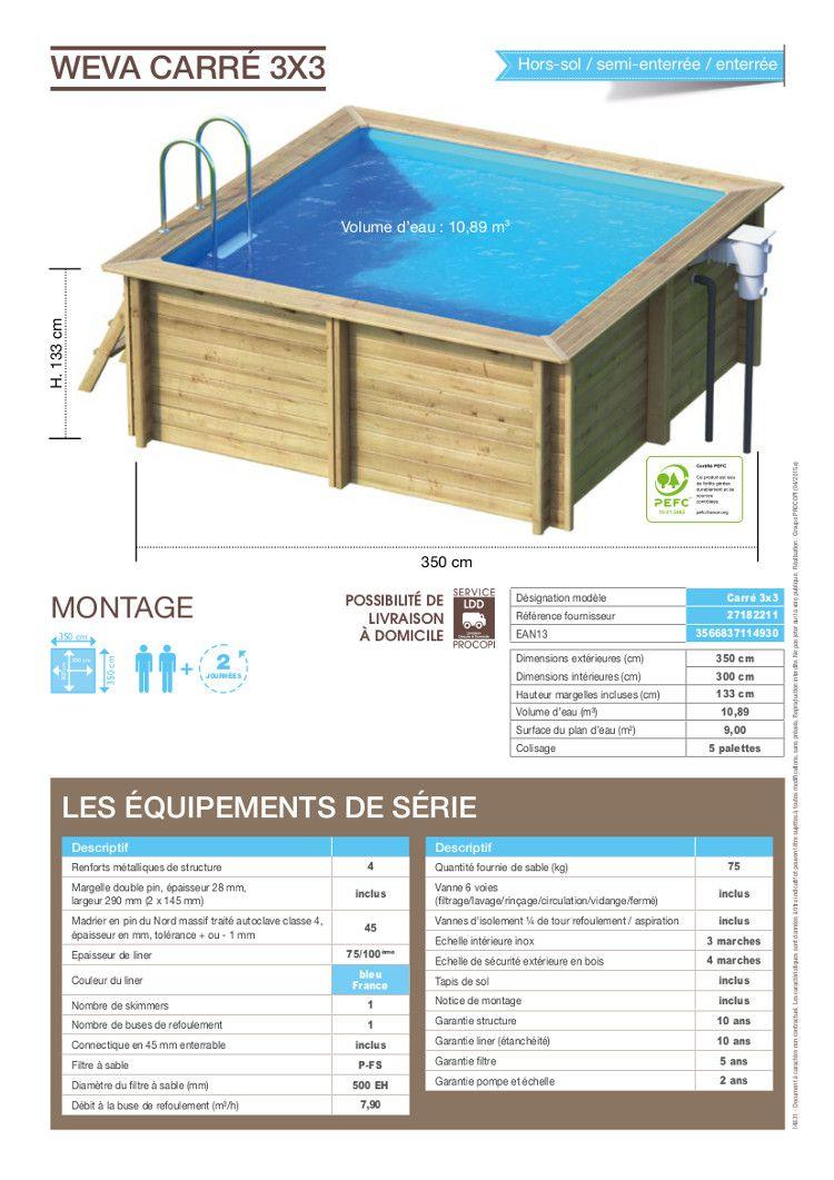 Weva piscine bois carr e 3x3 m hauteur 1 33 m achat for Piscine bois carree