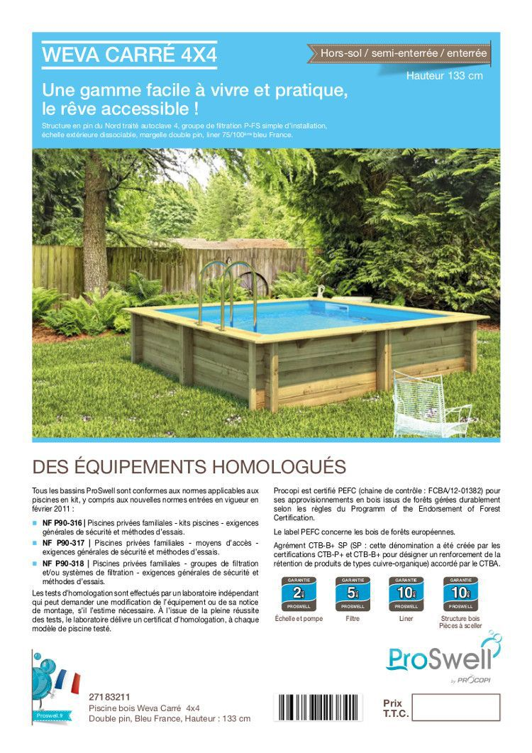 weva piscine bois carr e 4x4 m hauteur 1 33 m achat vente piscine piscine bois carr e. Black Bedroom Furniture Sets. Home Design Ideas