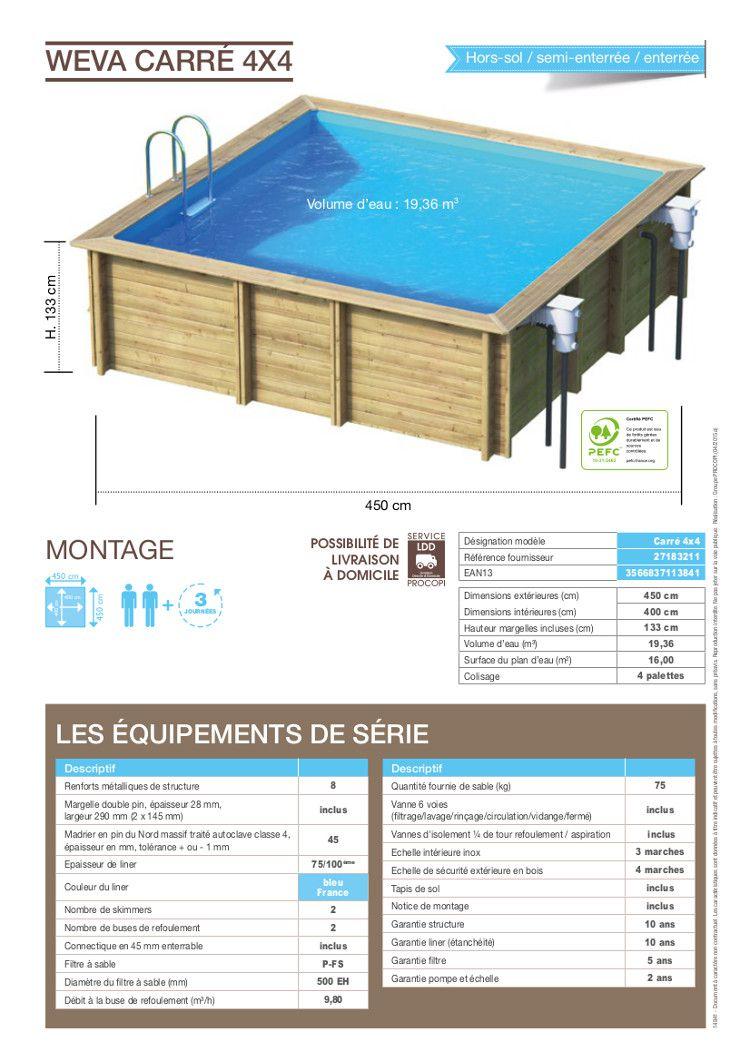 weva piscine bois carr e 4x4 m hauteur 1 33 m achat