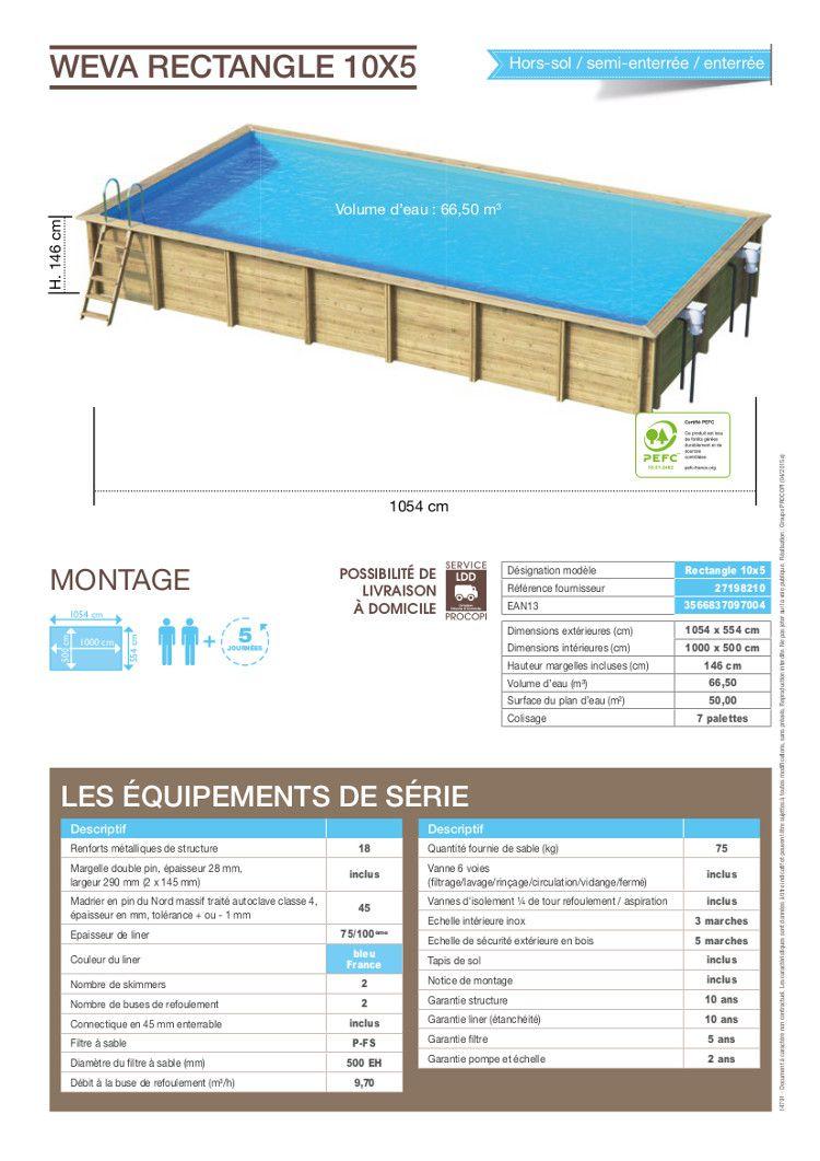 Weva piscine bois rectangle 10x5 m hauteur 1 46 m achat for Piscine bois 10x5