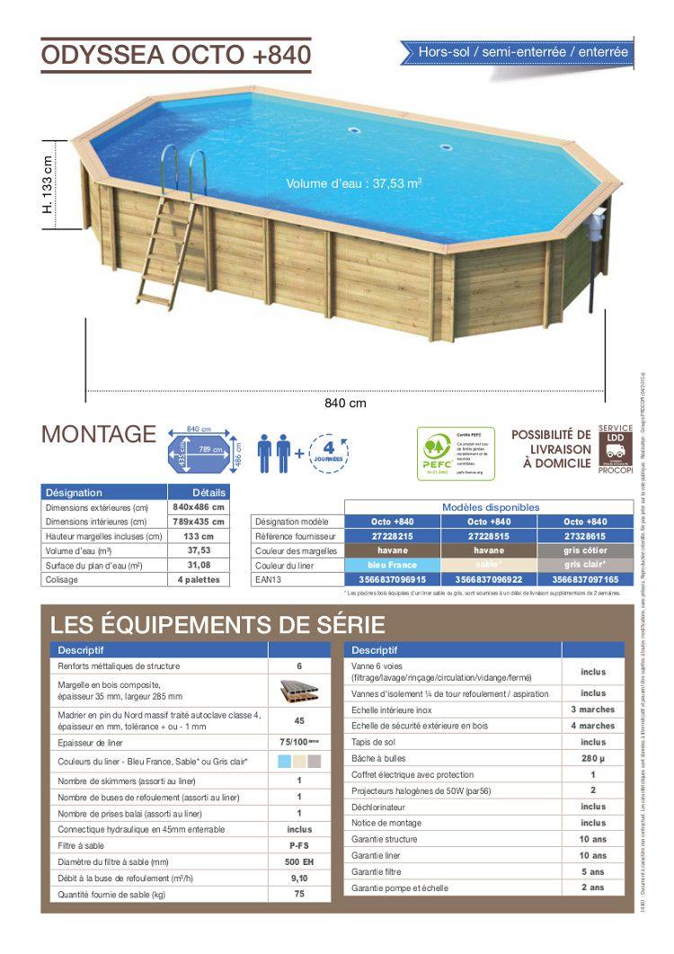 Odyssea piscine bois 8 40 x h 1 33m liner bleu achat for Achat piscine bois