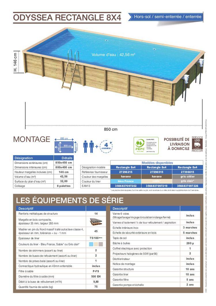 Odyssea piscine bois 8x4 m h 1 46 m liner sable achat for Tarif liner piscine 8x4