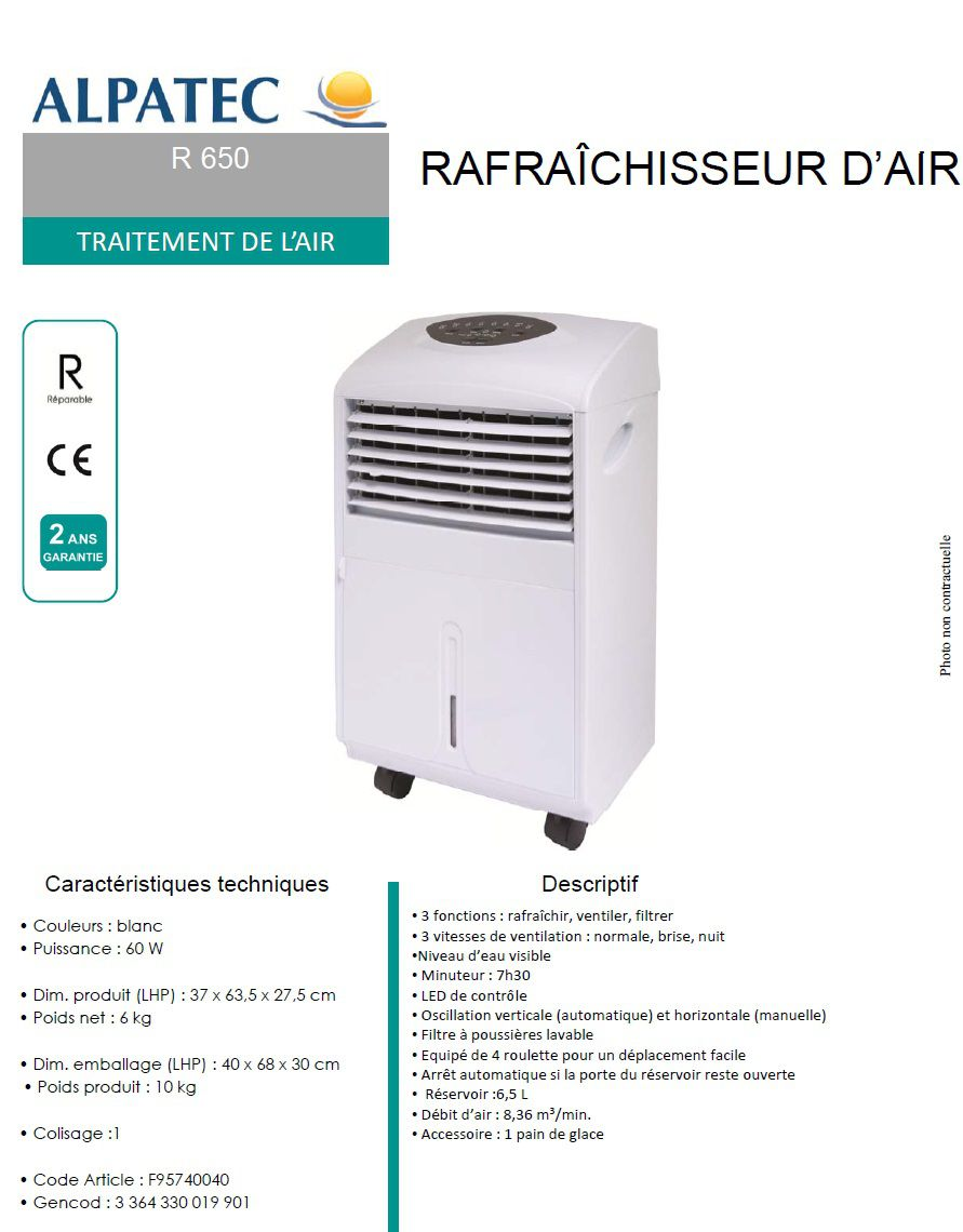 alpatec r650 rafra chisseur d 39 air achat vente ventilateur cdiscount. Black Bedroom Furniture Sets. Home Design Ideas