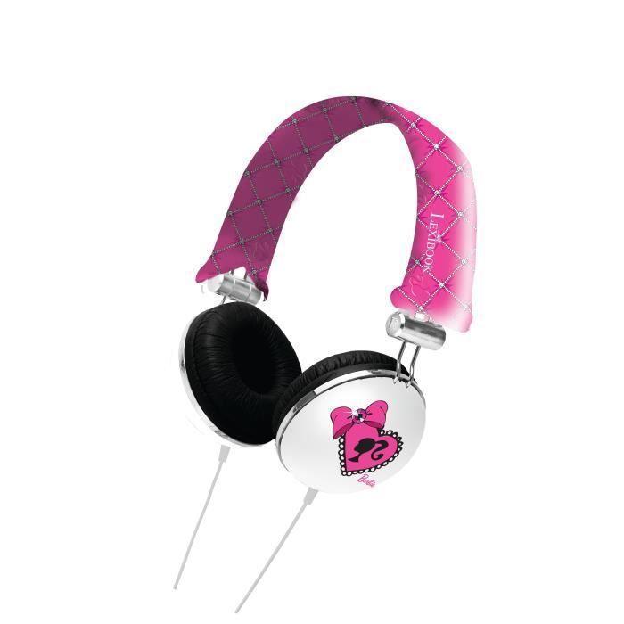 juniors console multimedia barbie casque audio enfant lexibook f  lexhpbb