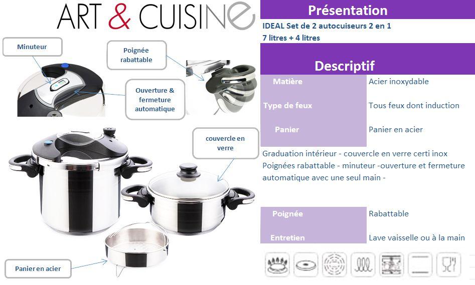 Art cuisine autocuiseurs ideal 4 et 7 litres tous feux - Faitout art et cuisine ...