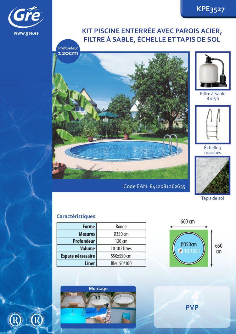 gre star pool kit piscine enterr e ronde 3 50x1 20 m achat vente piscine piscine enterr e. Black Bedroom Furniture Sets. Home Design Ideas