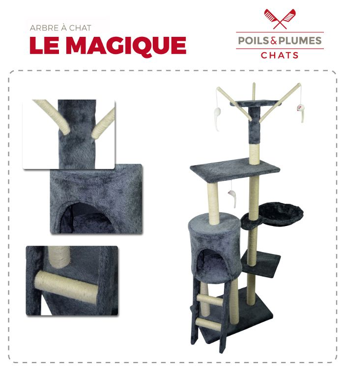 poils plumes le magique arbre chat griffoir 50x35x138 cm achat vente arbre chat. Black Bedroom Furniture Sets. Home Design Ideas