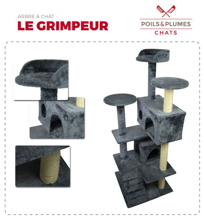 poils plumes arbre chat le grimpeur 50x50x125 cm gris achat vente arbre chat arbre. Black Bedroom Furniture Sets. Home Design Ideas