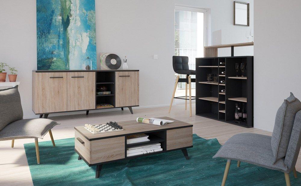 PIANO Meuble bar contemporain décor chêne brossé et noir mat - L 110 ...
