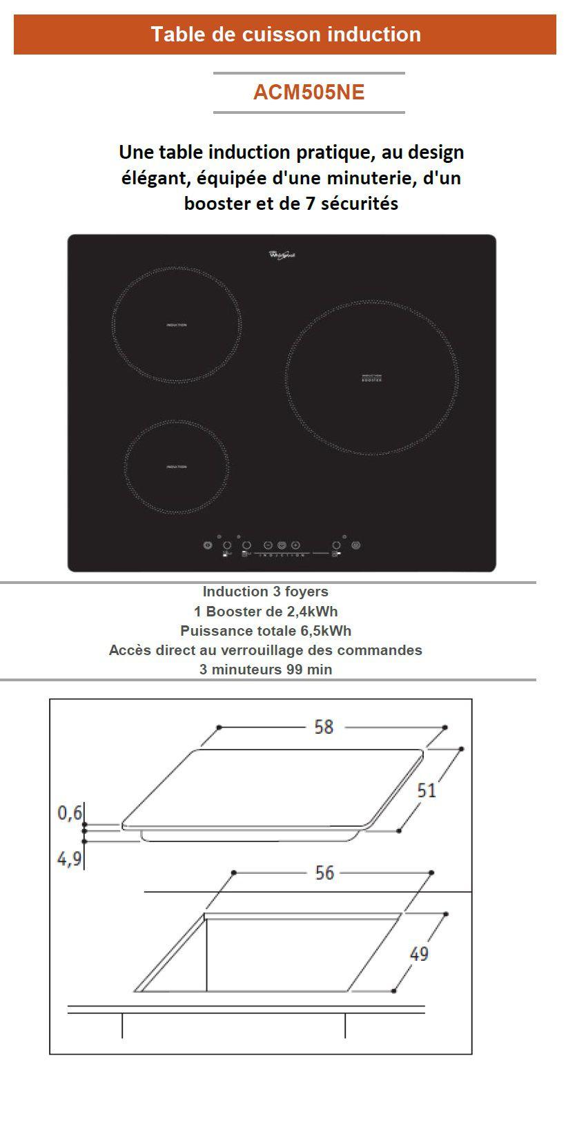 Whirlpool acm505ne table de cuisson induction 3 zones for Table de cuisson induction whirlpool