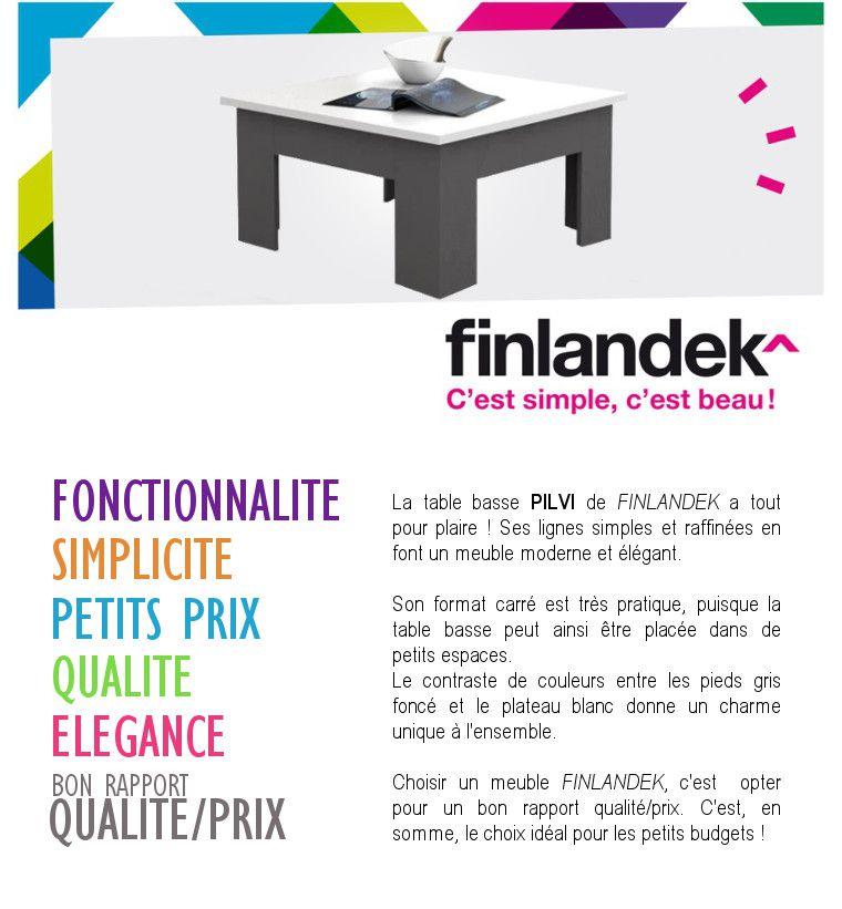 Finlandek Carrée Basse Pilvi Gris Style Contemporain Et Table Blanc rtsQBhdCx